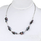 Lovely Cluster Style Natural Black Freshwater Pearl Wired Necklace