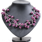 Wholesale purple heart colored glaze neckalce with extendable chain