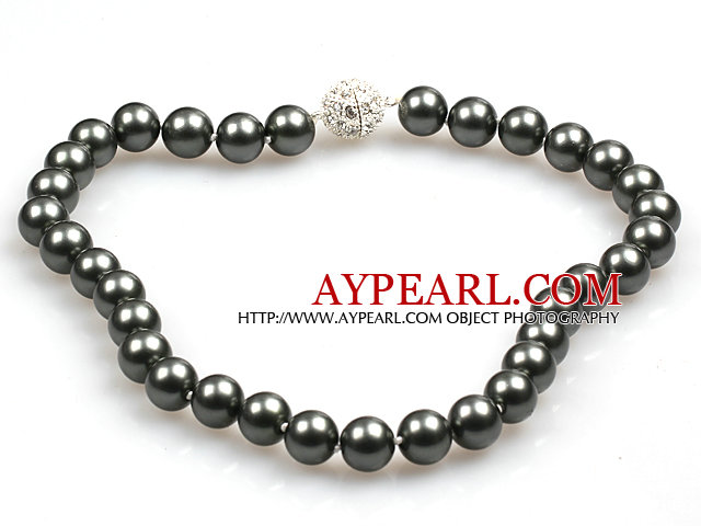Fashion Single Strand 12Mm Tungsten Steel Color Round Seashell Beads Necklace With Rhinestone Magnetic Clasp