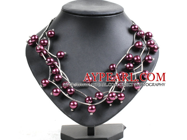 Trendy Style Multi Strand Red Purple Seashell Beads Twisted Necklace With Bending Alloyed Tube