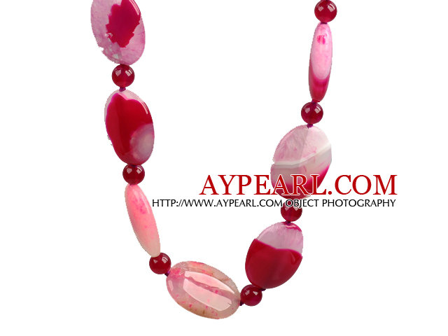 Rose Pink Crystallized Agate Necklace with Lobster Clasp