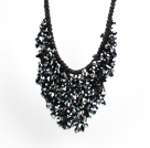 Sparkly Bib Shape Black Series Water Drop Shape Crystal Statement Party Necklace