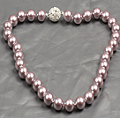 Fashion Single Strand 12Mm Light Purple Round Seashell Beads Necklace With Rhinestone Magnetic Clasp