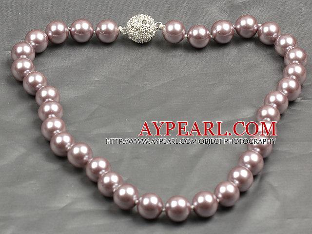 Fashion Single Strand 12Mm Light Purple Round Seashell Beads Necklace With Rhinestone Magnetic Clasp