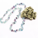 Trendy Simple Style Long Gemstone Chips Necklace with Flower Charm (Rainbow Fluorite,Ametrine, Citrine,Black Rutilated Quartz--Random Delivery)