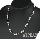 Wholesale 17.5 inches 6-7mm white pearl necklace with lobster clasp
