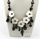 Big Style Black Agate and White Shell Flower Necklace