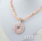 Wholesale natural pink pearl and rose quartz pendant necklace with lobster clasp