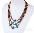 Wholesale 3 strand dyed golden color pearl and blue jade necklace