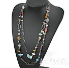 Wholesale fashion long style dyed pearl and crystal necklace