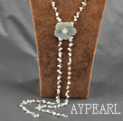 fashion long style howlite chips and shell flower necklace with lobster clasp