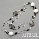 black agate and white crystal and white hercules stone long necklace