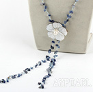 fashion long style  kyanite chips and shell flower necklace