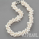 Wholesale 3 strand natural white 6-7mm drilled pearl necklace with moonlight clasp
