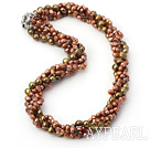 Wholesale 18.5 inches 4-strand dyed brown pearl necklace with moonlight clasp