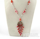 Wholesale Simple Style Red Crystal Tassel Necklace with Metal Chain