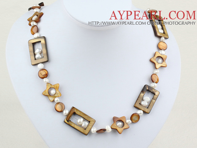 27.5 inches fashion pearl shell long style necklace