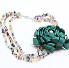 Fashion Style Three Strands Multi-Gemstone Chips Party Necklace with Statement Ribbon Flower Charm