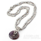 double strand gray pearl and natural amethyst good luck pendant neclace