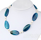 natural white pearl and blue agate necklace