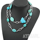 Wholesale 39 inches turquoise necklace with metal chain
