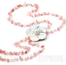 Wholesale fashion long style cherry quartze chips and shell flower necklace with lobster clasp