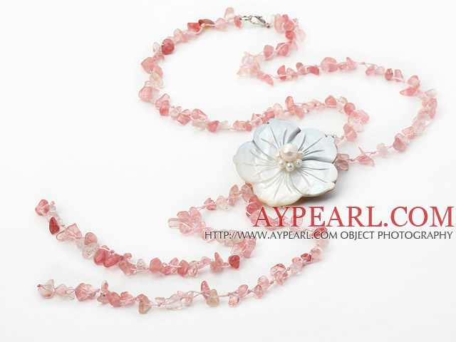 fashion long style cherry quartze chips and shell flower necklace with lobster clasp
