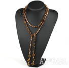 Wholesale 51 inches pearl and tiger's eye long style necklace