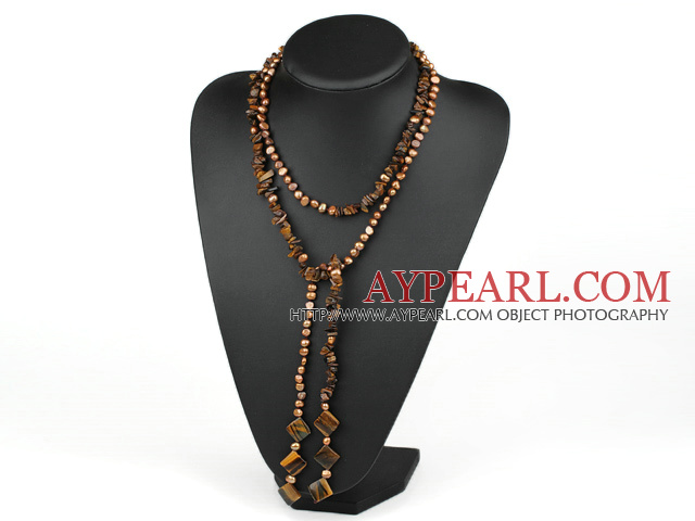 51 inches pearl and tiger's eye long style necklace