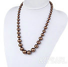 Wholesale 19.5 inches brown seashell graduated beaded necklace with moonlight clasp