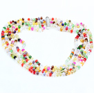 Beautiful Summer Style Five Strands Multi Color Crystal Party Necklace