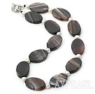 Wholesale 18 inches line patterned black agate necklace with moonlight clasp