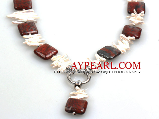 Biwa Pearl and Red Jasper Lariat Necklace