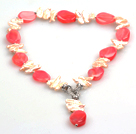 Wholesale Biwa Pearl and Hot Pink Agate Pendant Necklace (The Pendant Is Removable)