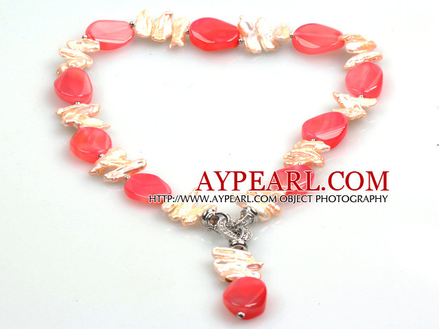 Biwa Pearl and Hot Pink Agate Pendant Necklace (The Pendant Is Removable)
