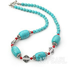 Wholesale 18 inches blue turquoise and red alaqueca necklace with toggle clasp