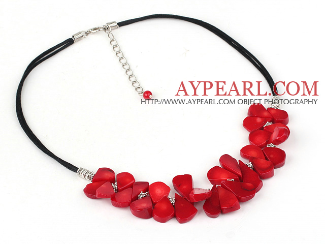 17.5 inches simple coral necklace with lobster clasp
