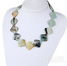 Wholesale 4*30mm amazon stone necklace with moonlight clasp