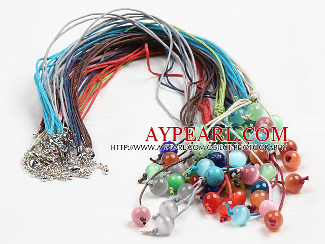 10 Pcs Y shape Multi Color Cat's Eye Stone Wax Thread Necklace (Random Color)