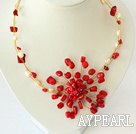 white pearl and red coral flower necklace with moonlight clasp
