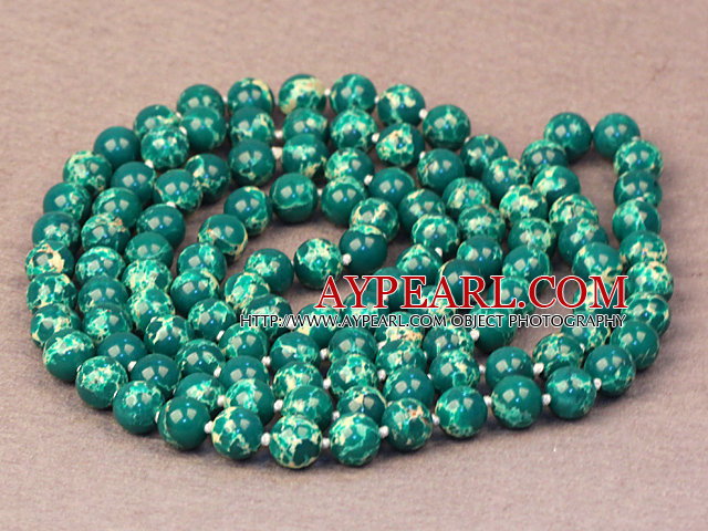 Noble Long Style Deep Green Imperial Jasper Stone Beads Necklace