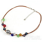 Wholesale 18 inches lightened multi colored crystal necklace
