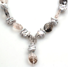 Wholesale Biwa Pearl and Smoky Quartz Pendant Necklace (The Pendant Is Removable)