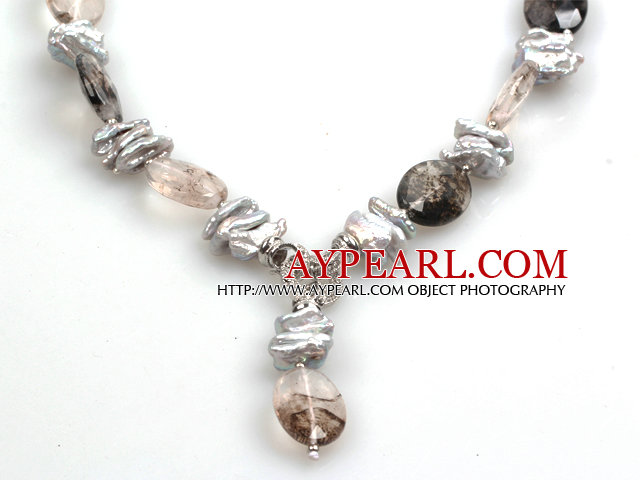 Biwa Pearl and Smoky Quartz Pendant Necklace (The Pendant Is Removable)