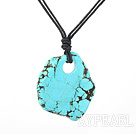 17.5 inches simple turquoise pendant necklace with lobster clasp