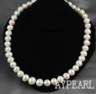 Wholesale Nearly Round White Freshwater Pearl Beaded Graduated Necklace