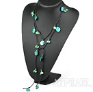 Wholesale green pearl shell long style necklace