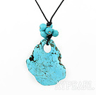 Nice Simple Style Round And Large Irregular Shape Blue Turquoise Pendant Necklace With Black Cords