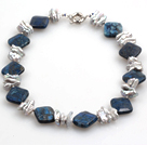 Biwa Pearl and Rhombus Shape Lapis Necklace with Lobster Clasp
