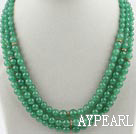 Three Strands Aventurine Beaded Necklace with Aventurine Clasp